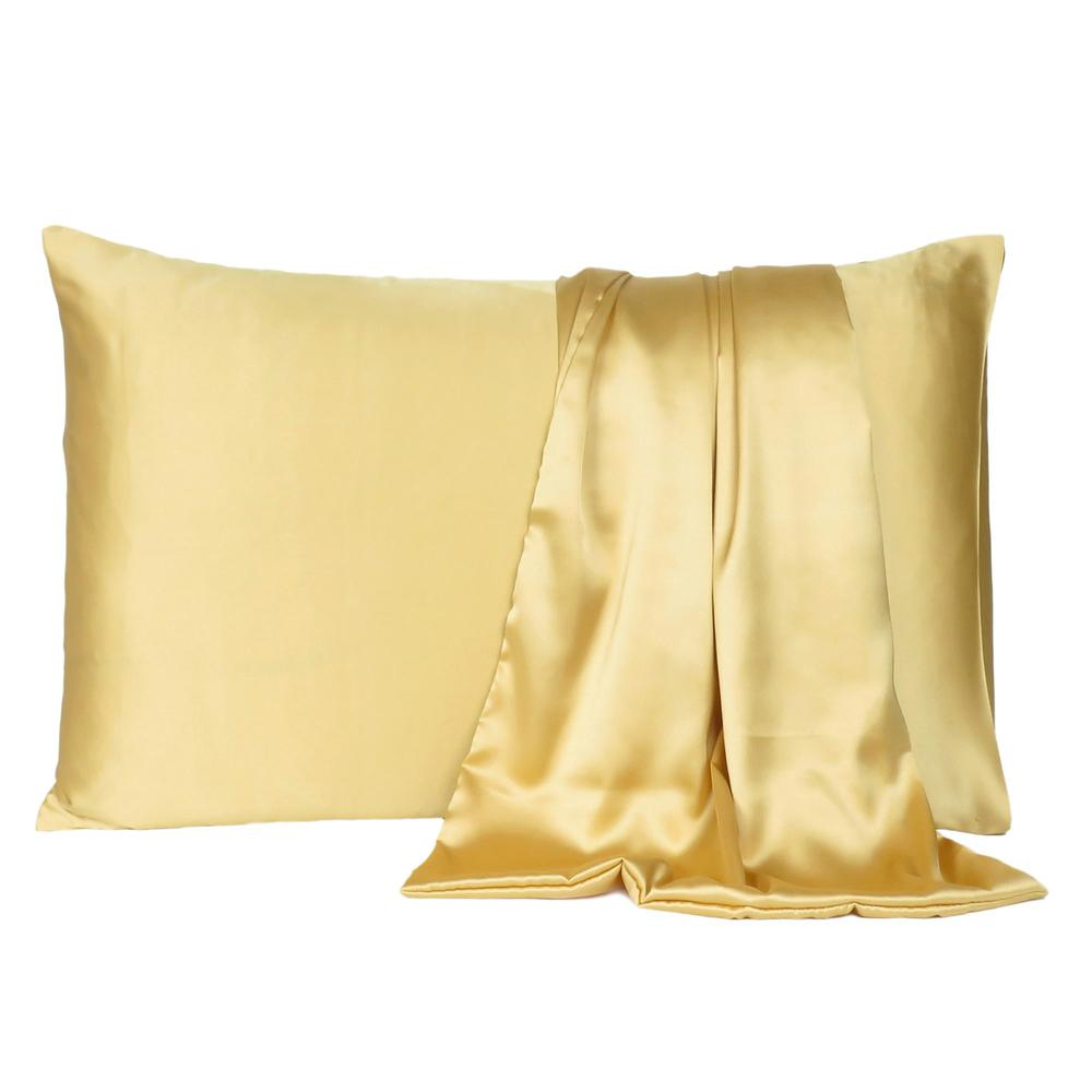 Gold Dreamy Set of 2 Silky Satin Standard Pillowcases - 387865. Picture 2