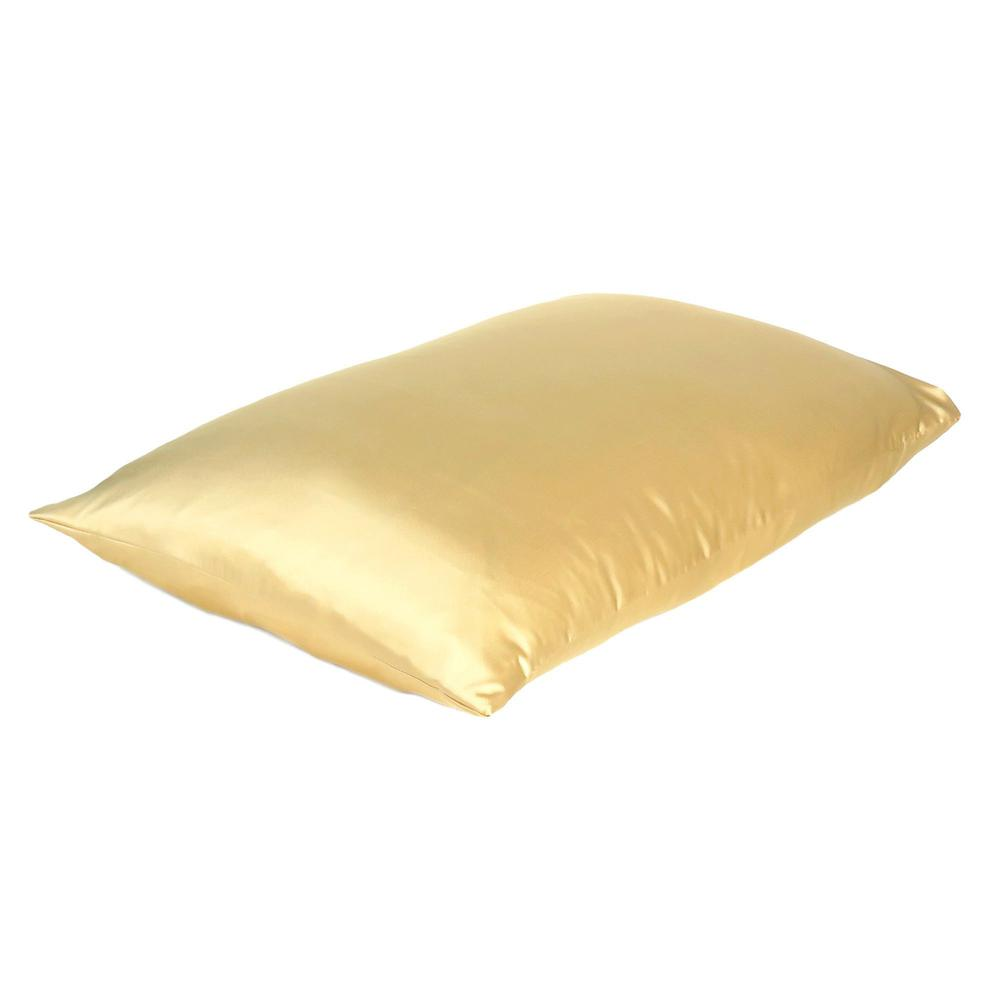 Gold Dreamy Set of 2 Silky Satin Standard Pillowcases - 387865. Picture 4