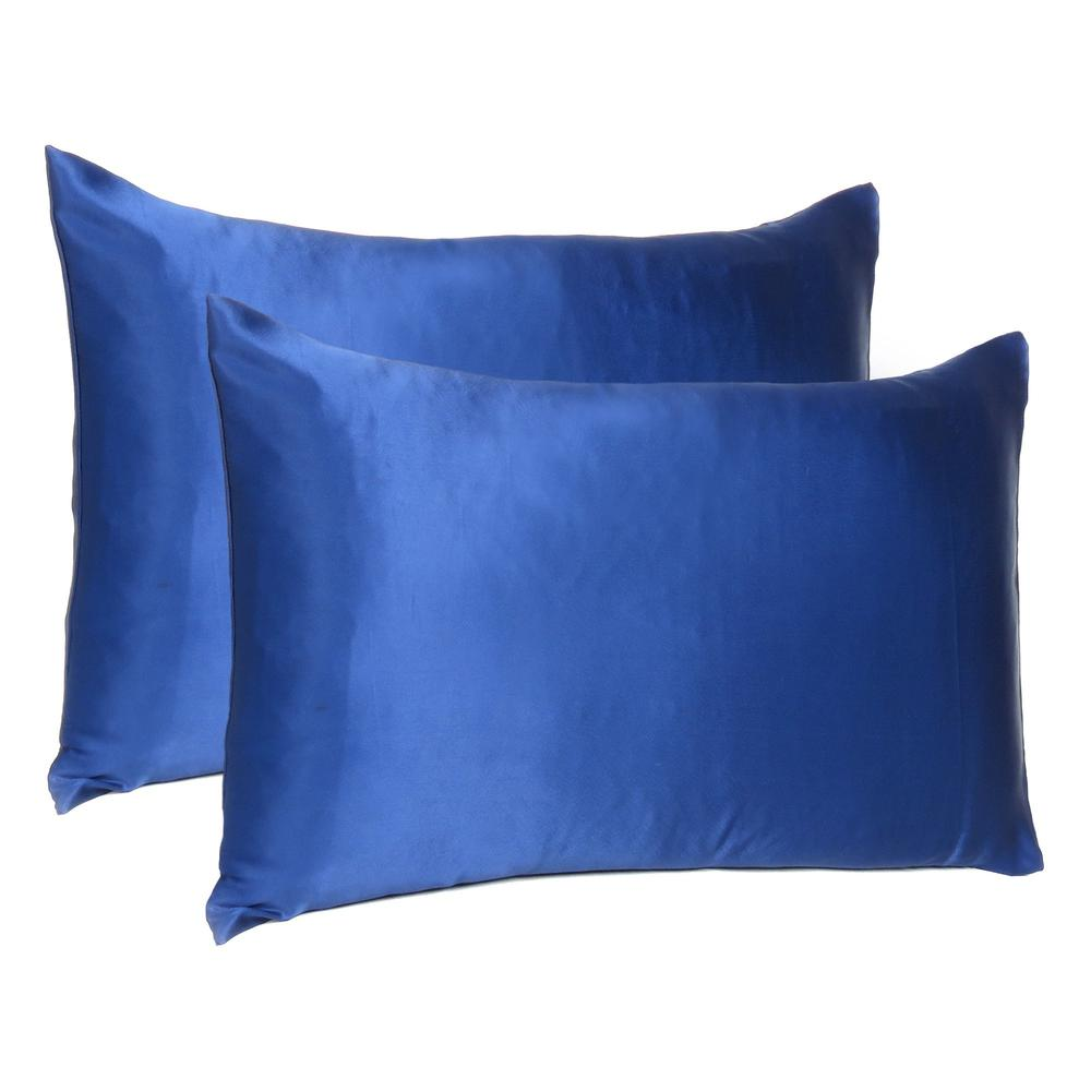 Navy Blue Dreamy Set of 2 Silky Satin Standard Pillowcases - 387871. Picture 1