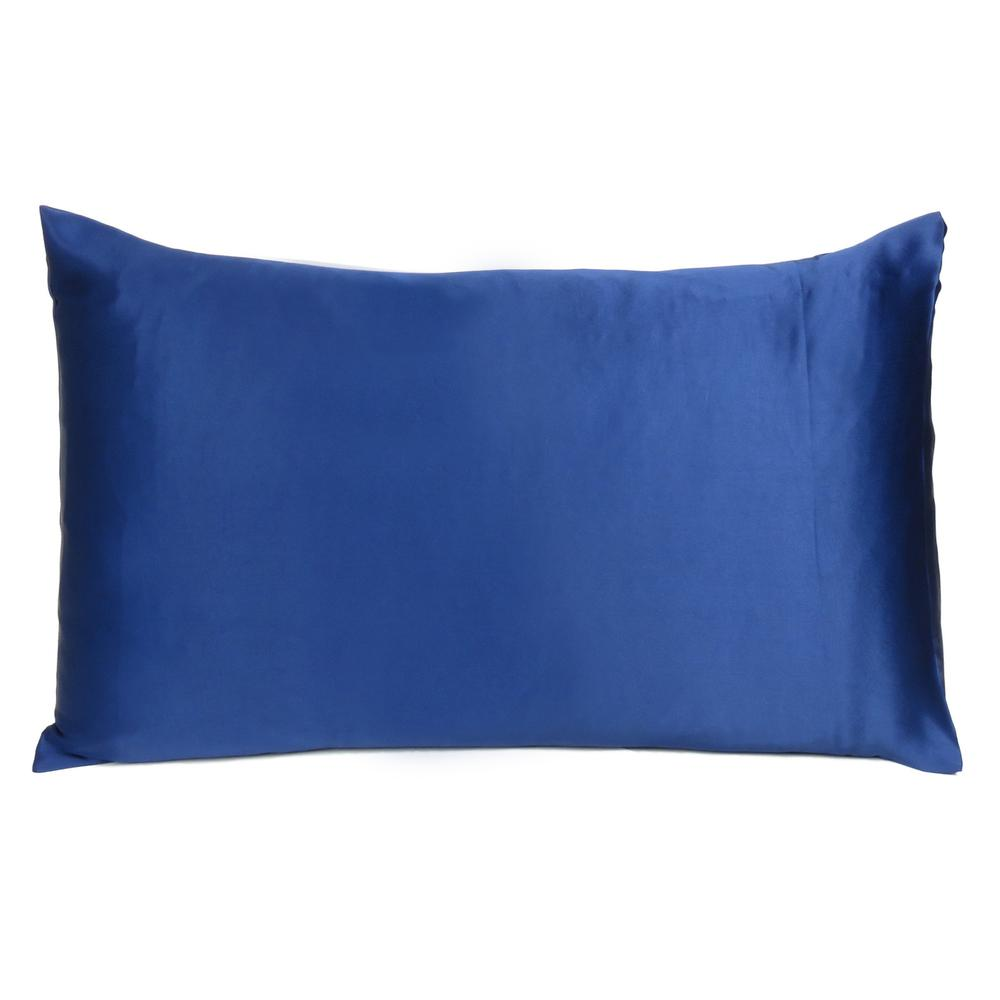 Navy Blue Dreamy Set of 2 Silky Satin Standard Pillowcases - 387871. Picture 3