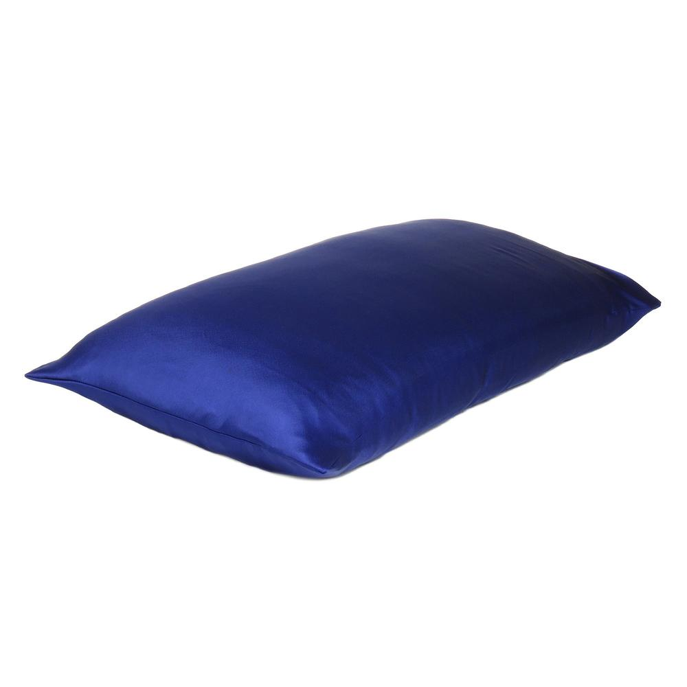 Navy Blue Dreamy Set of 2 Silky Satin Standard Pillowcases - 387871. Picture 4