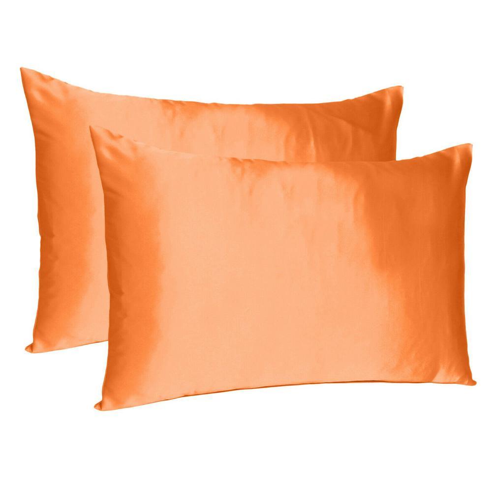 Orange Dreamy Set of 2 Silky Satin Standard Pillowcases - 387872. Picture 1