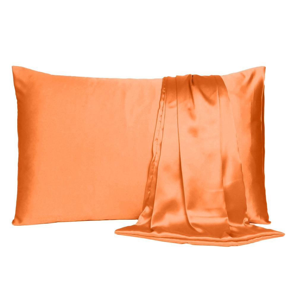 Orange Dreamy Set of 2 Silky Satin Standard Pillowcases - 387872. Picture 2