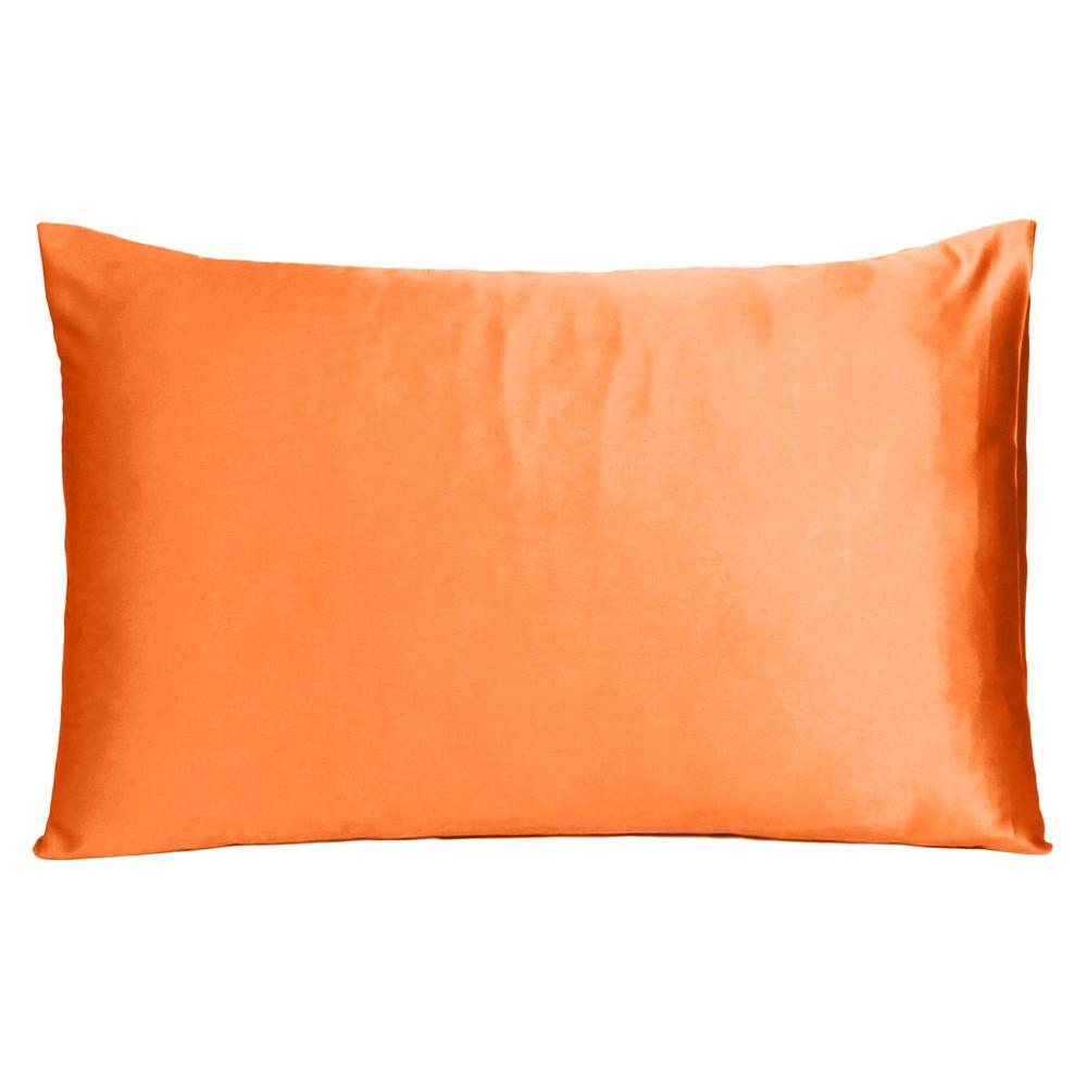 Orange Dreamy Set of 2 Silky Satin Standard Pillowcases - 387872. Picture 3