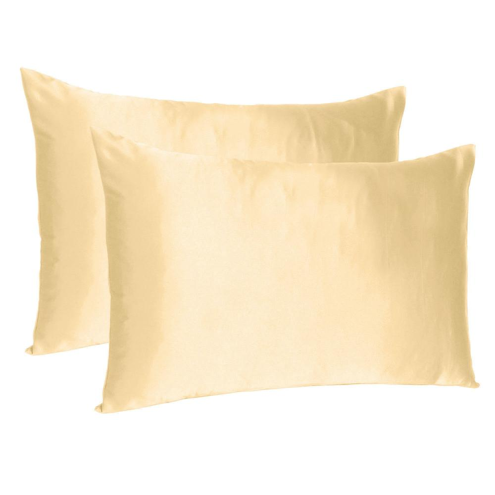 Pale Peach Dreamy Set of 2 Silky Satin Standard Pillowcases - 387873. Picture 1