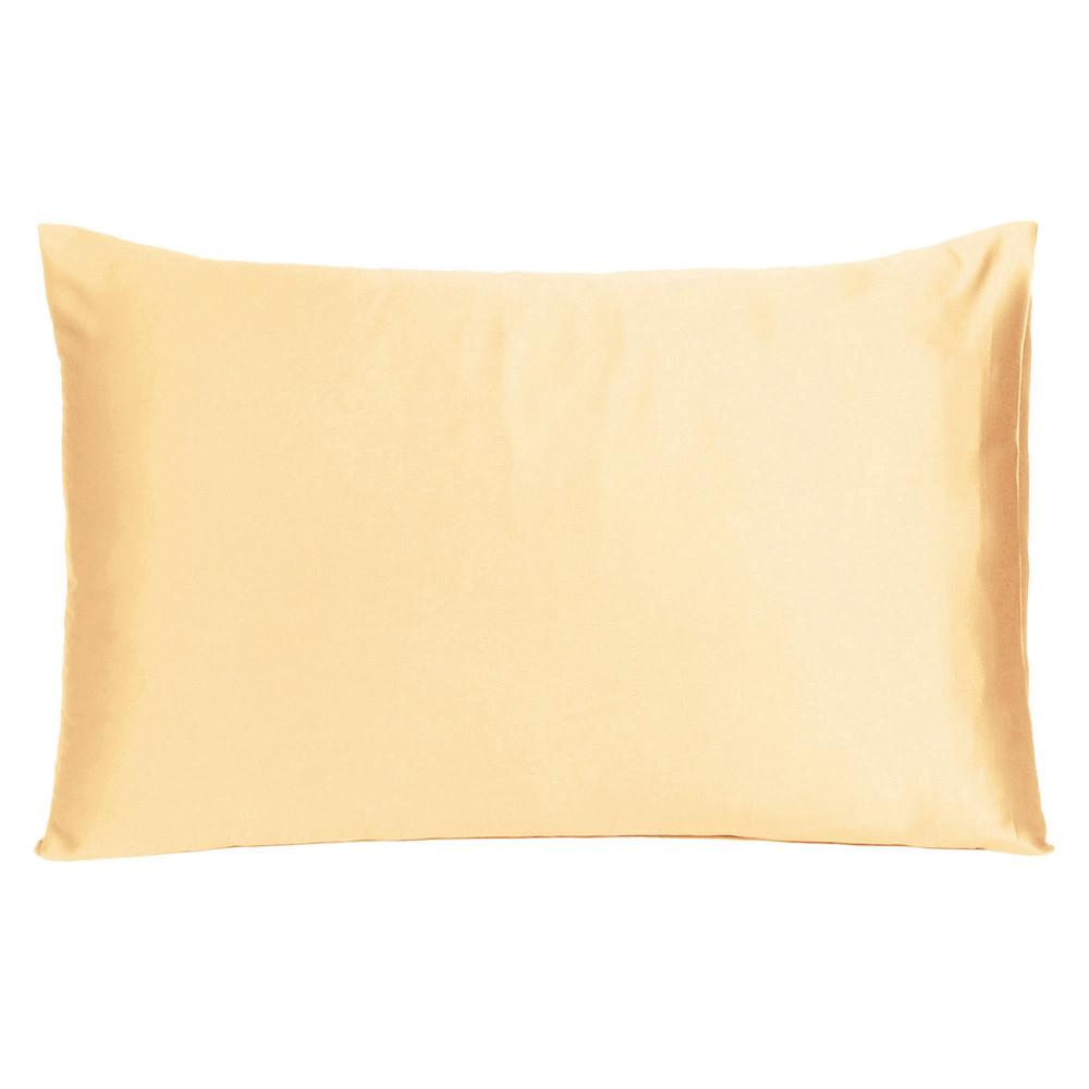 Pale Peach Dreamy Set of 2 Silky Satin Standard Pillowcases - 387873. Picture 3