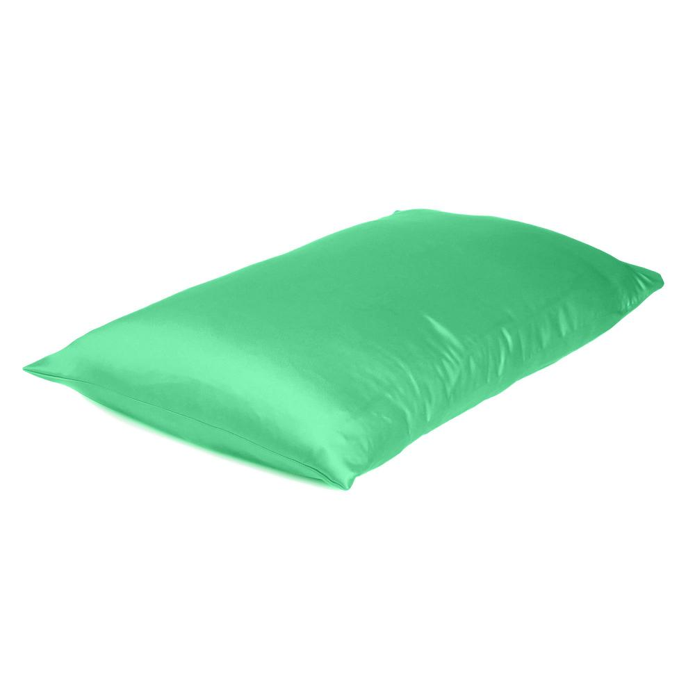 Green Dreamy Set of 2 Silky Satin Standard Pillowcases - 387875. Picture 4