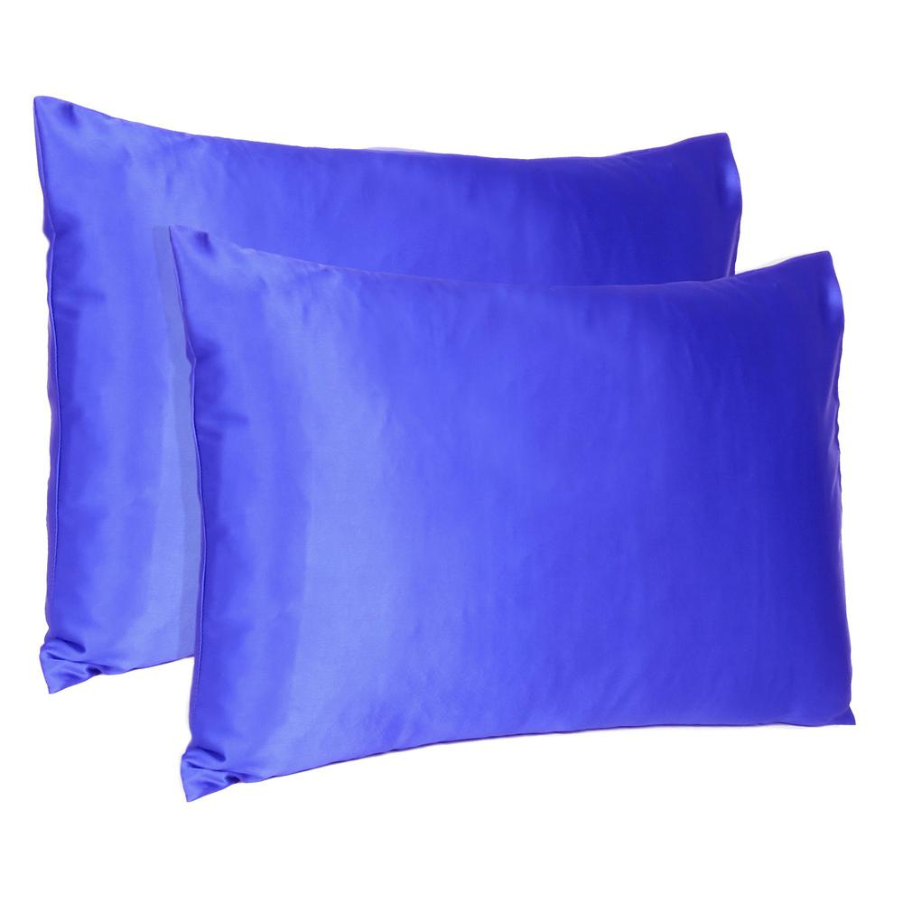 Royal Blue Dreamy Set of 2 Silky Satin Standard Pillowcases - 387879. Picture 1
