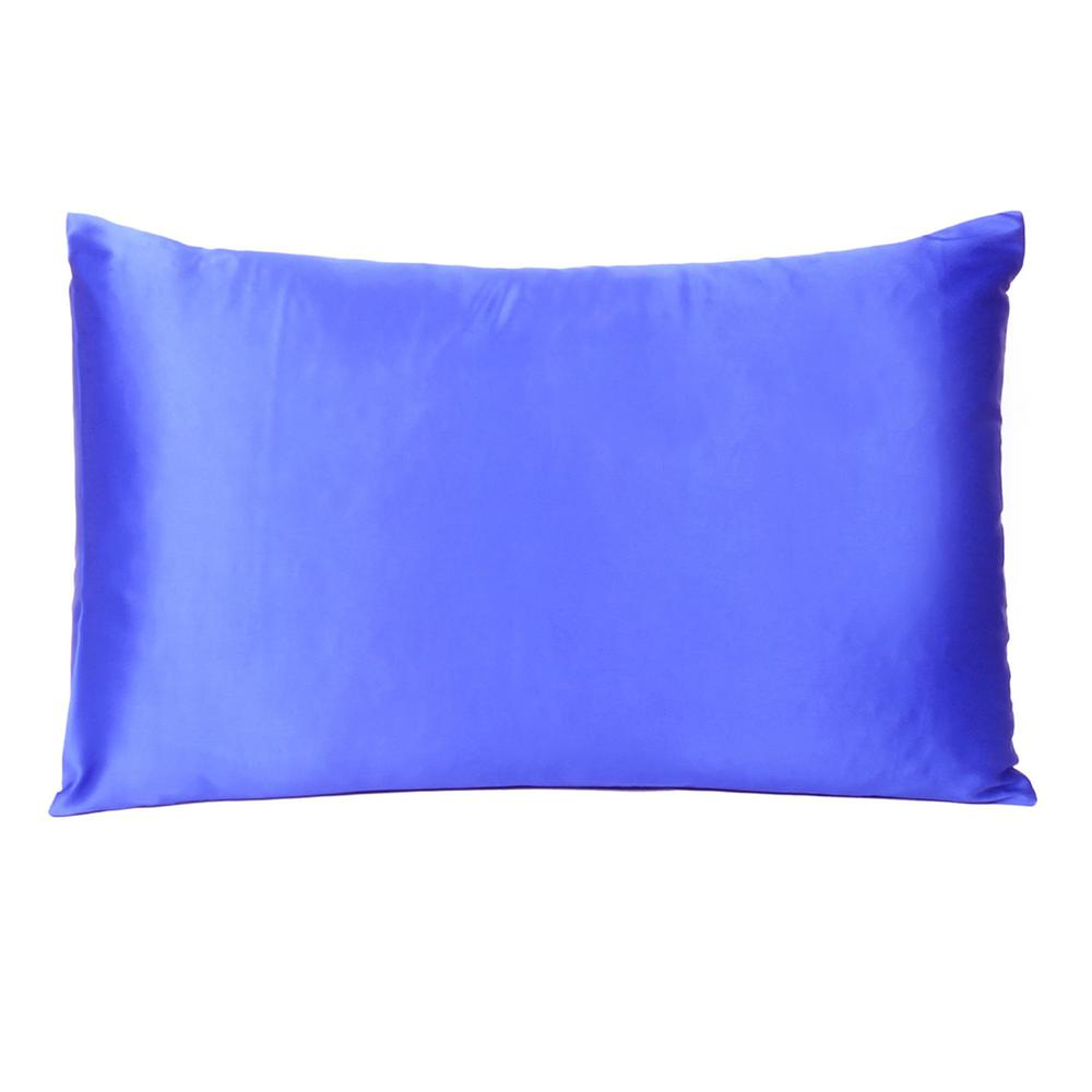Royal Blue Dreamy Set of 2 Silky Satin Standard Pillowcases - 387879. Picture 3