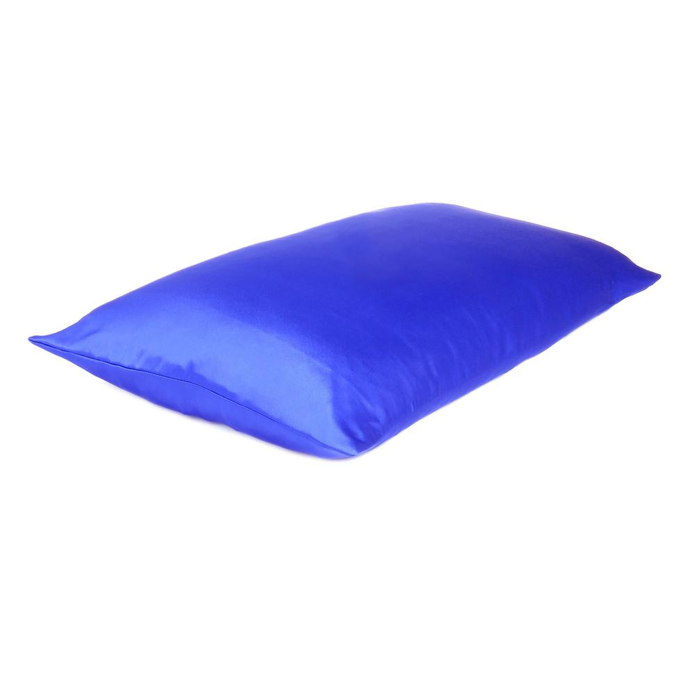 Royal Blue Dreamy Set of 2 Silky Satin Standard Pillowcases - 387879. Picture 4