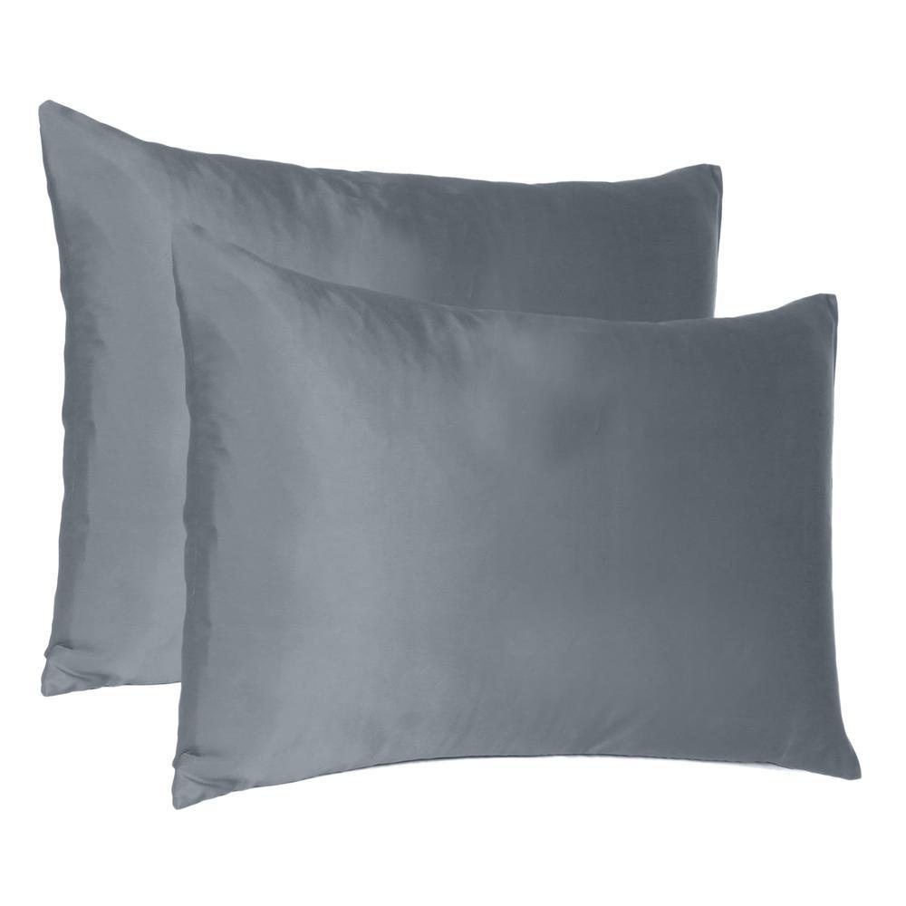 Dark Gray Dreamy Set of 2 Silky Satin Standard Pillowcases - 387880. Picture 1