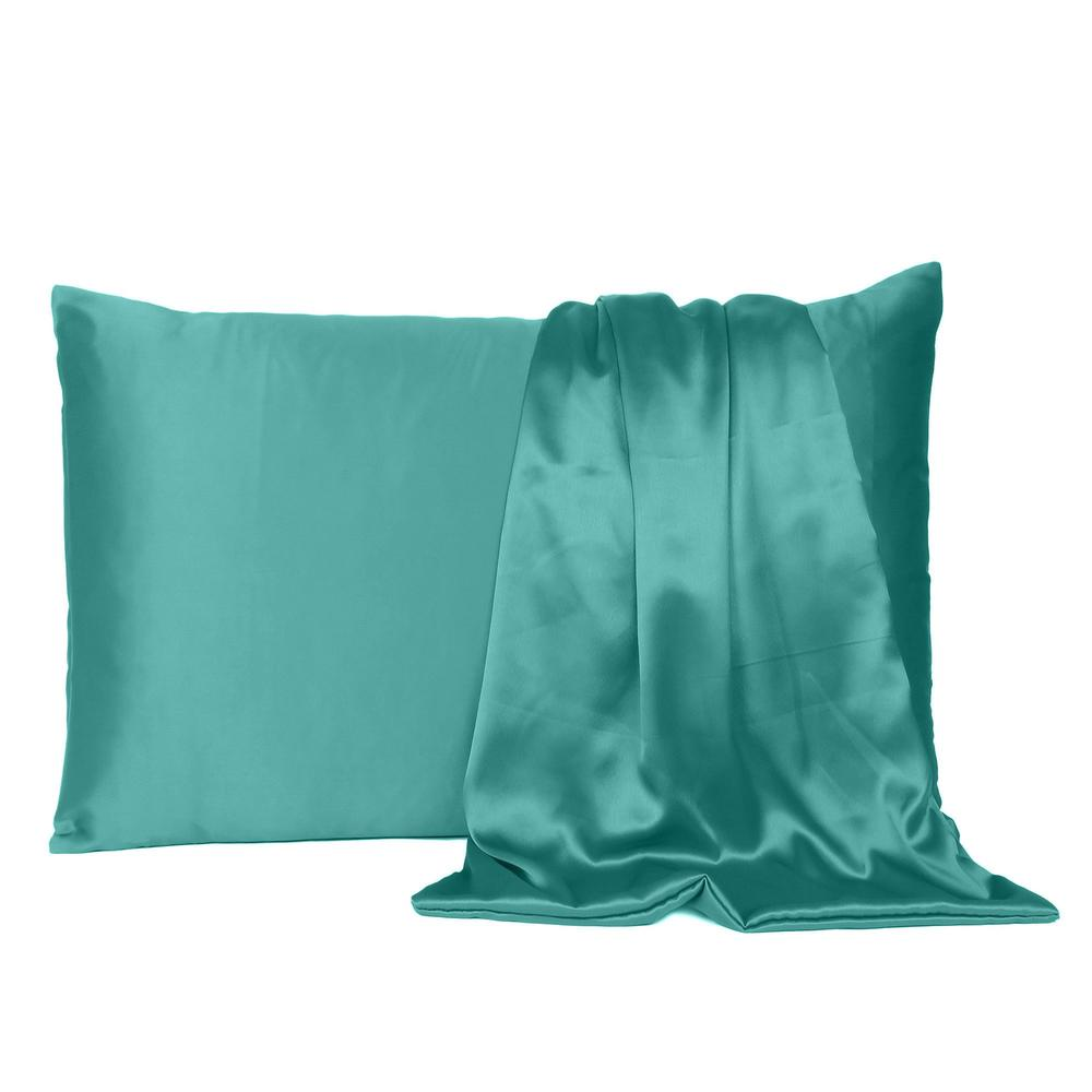 Teal Dreamy Set of 2 Silky Satin Standard Pillowcases - 387881. Picture 2