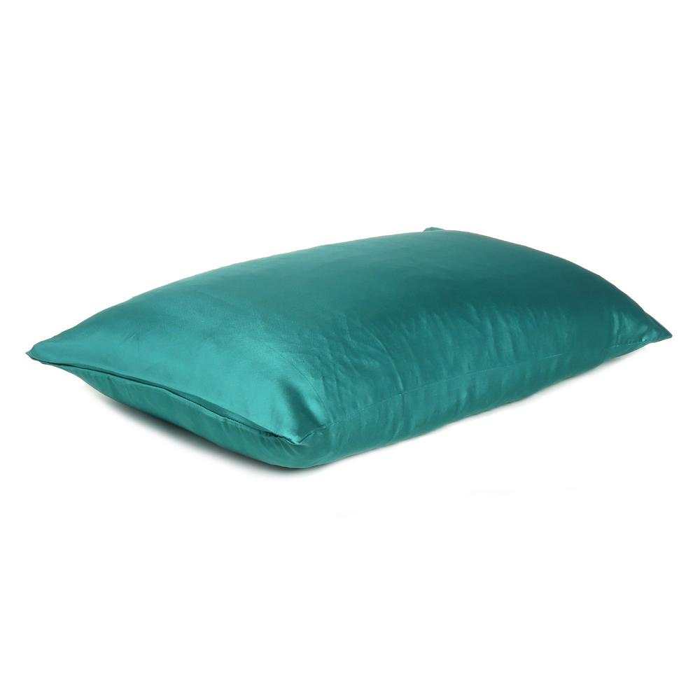 Teal Dreamy Set of 2 Silky Satin Standard Pillowcases - 387881. Picture 4