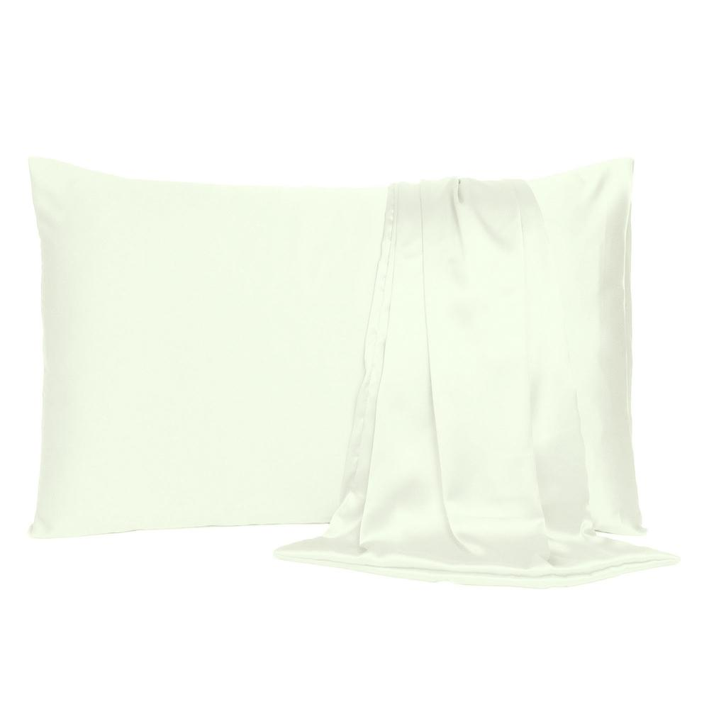 Ivory Dreamy Set of 2 Silky Satin Standard Pillowcases - 387882. Picture 2