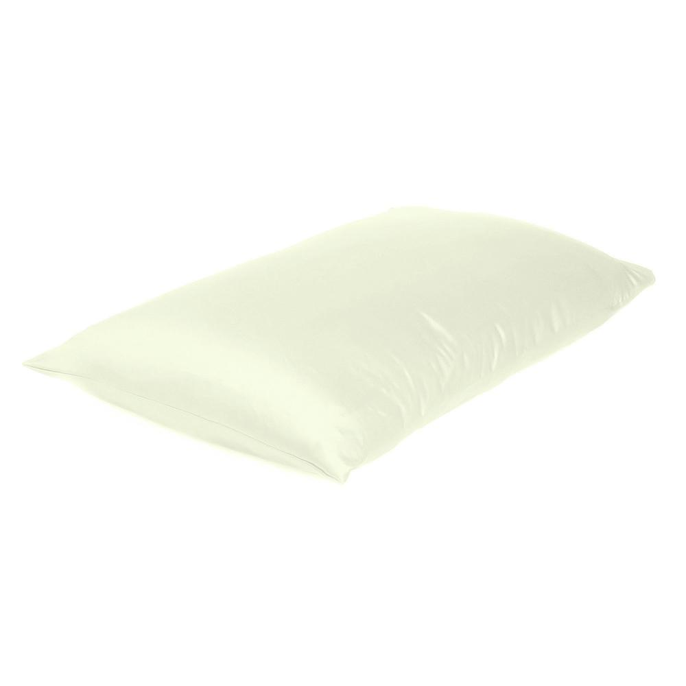Ivory Dreamy Set of 2 Silky Satin Standard Pillowcases - 387882. Picture 4