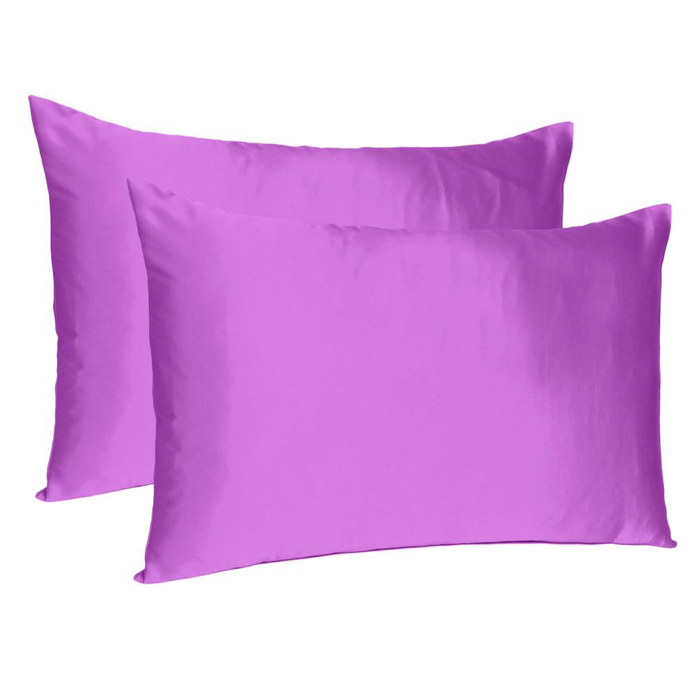 Purple Dreamy Set of 2 Silky Satin Standard Pillowcases - 387883. Picture 1
