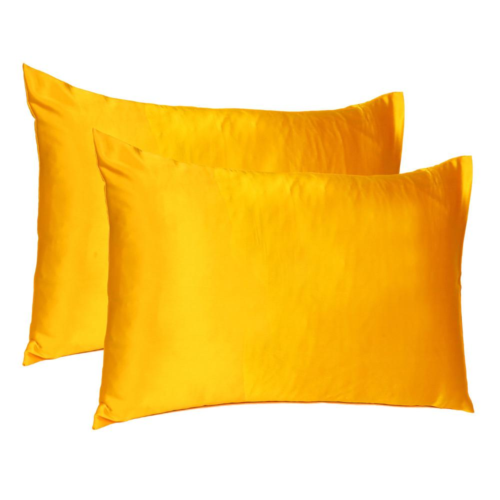 Goldenrod Dreamy Set of 2 Silky Satin Standard Pillowcases - 387885. Picture 1