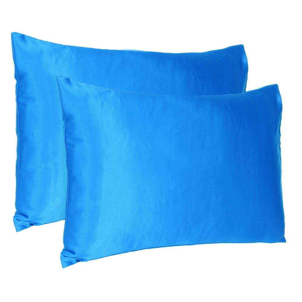 Blue Dreamy Set of 2 Silky Satin Queen Pillowcases - 387887. Picture 1