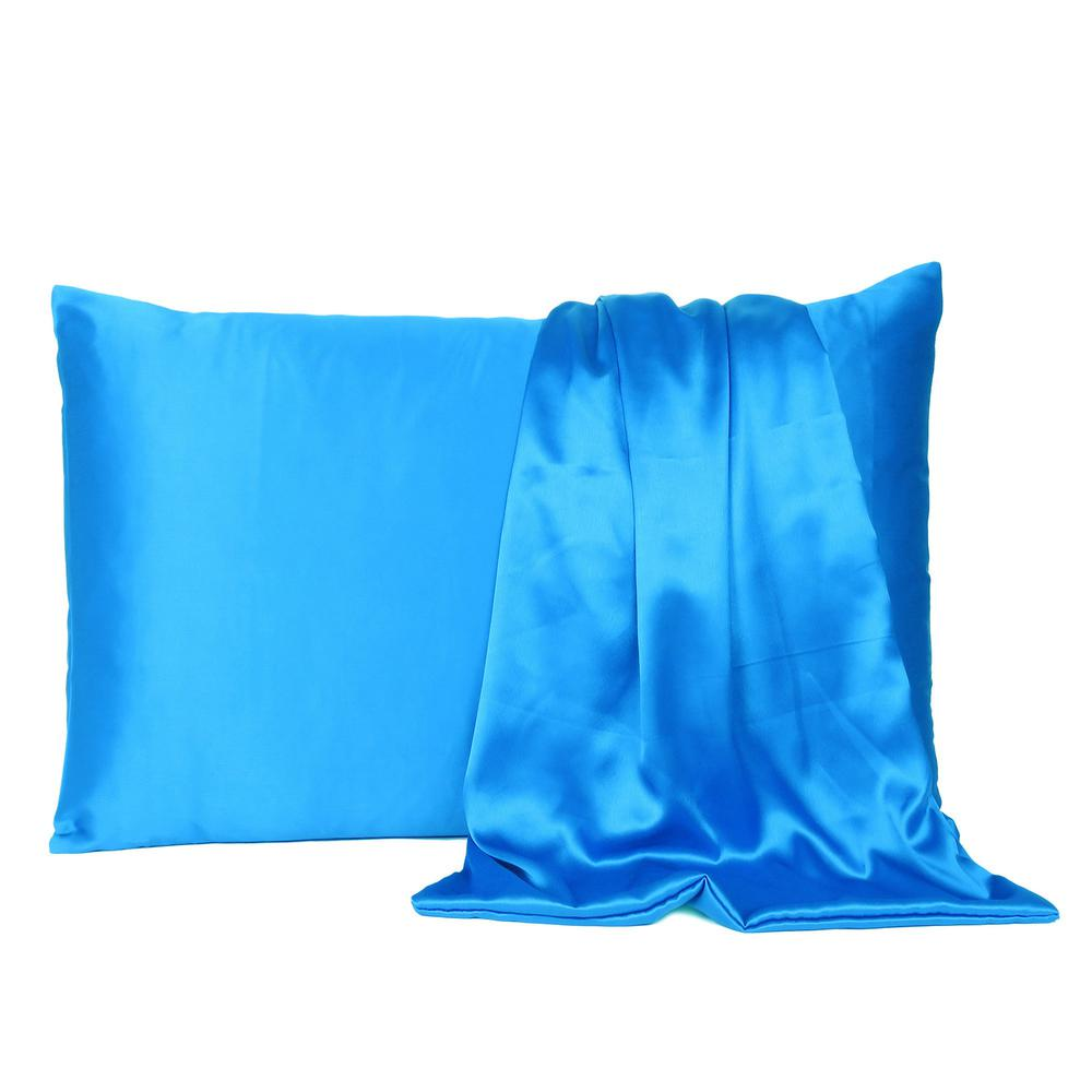 Blue Dreamy Set of 2 Silky Satin Queen Pillowcases - 387887. Picture 2