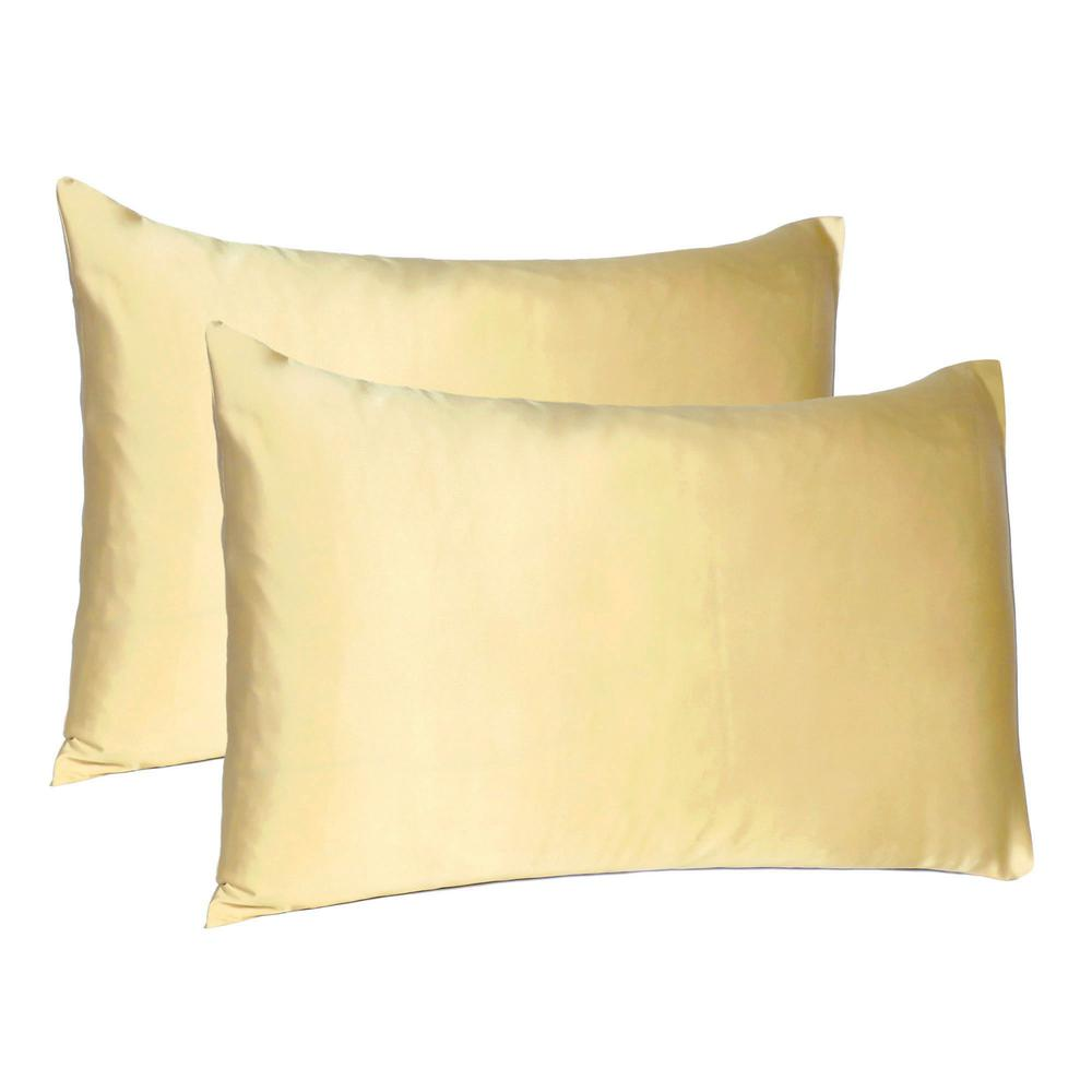 Pale Yellow Dreamy Set of 2 Silky Satin Queen Pillowcases - 387889. Picture 1