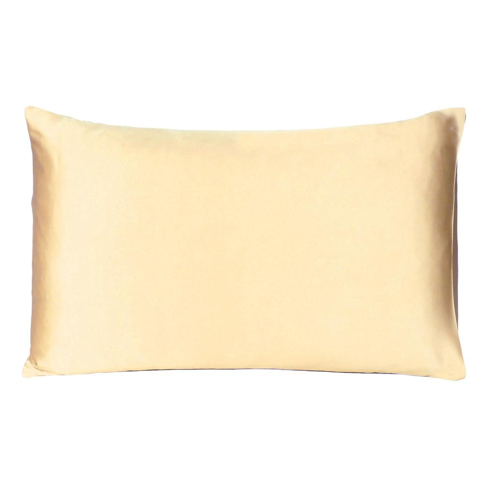 Pale Yellow Dreamy Set of 2 Silky Satin Queen Pillowcases - 387889. Picture 3