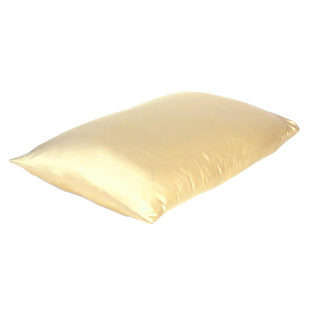 Pale Yellow Dreamy Set of 2 Silky Satin Queen Pillowcases - 387889. Picture 4