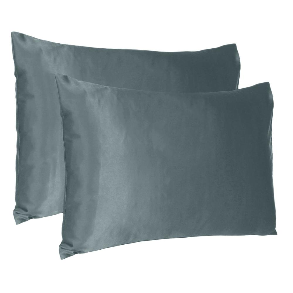 Gray Dreamy Set of 2 Silky Satin Queen Pillowcases - 387890. Picture 1