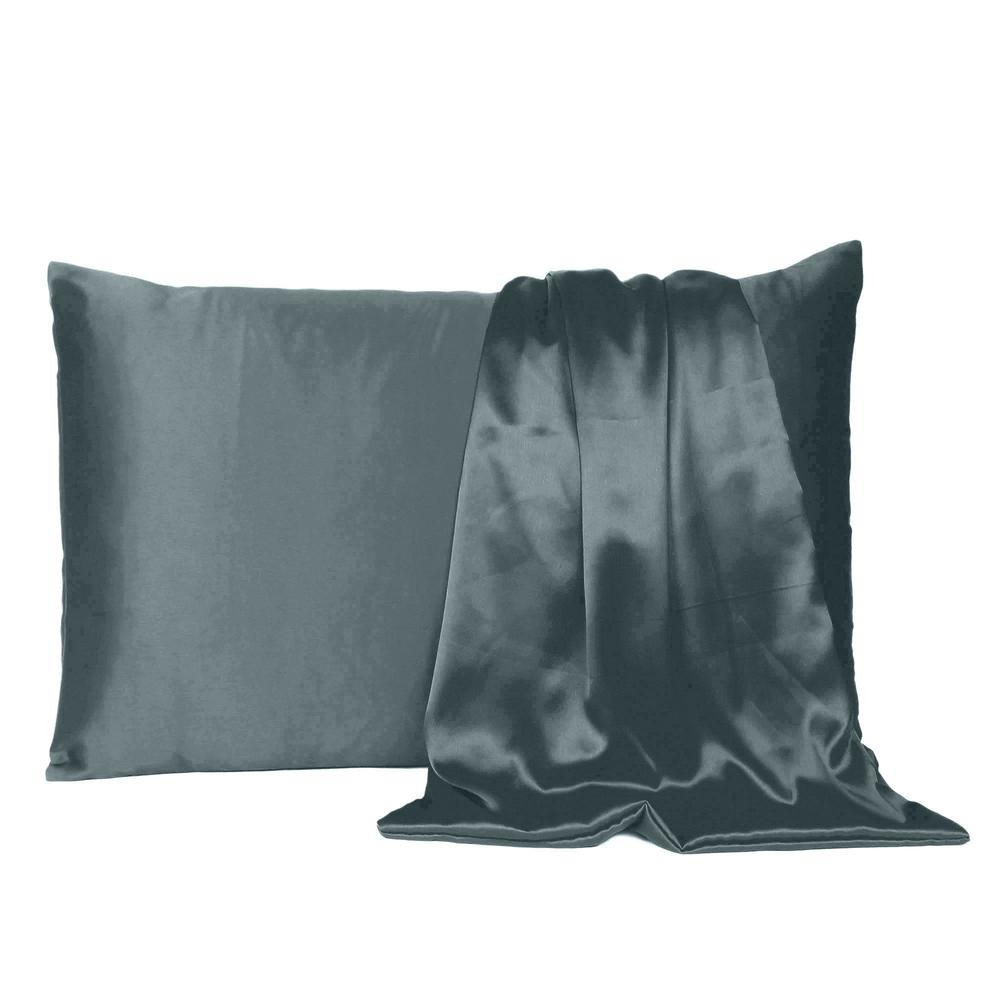 Gray Dreamy Set of 2 Silky Satin Queen Pillowcases - 387890. Picture 2