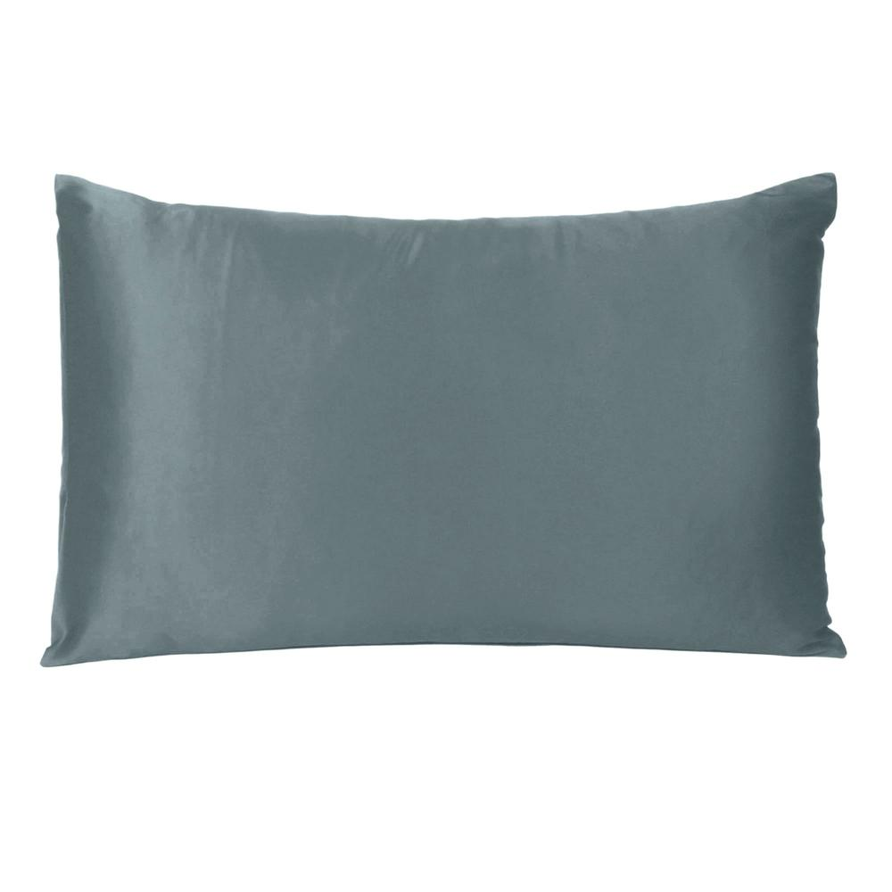 Gray Dreamy Set of 2 Silky Satin Queen Pillowcases - 387890. Picture 3