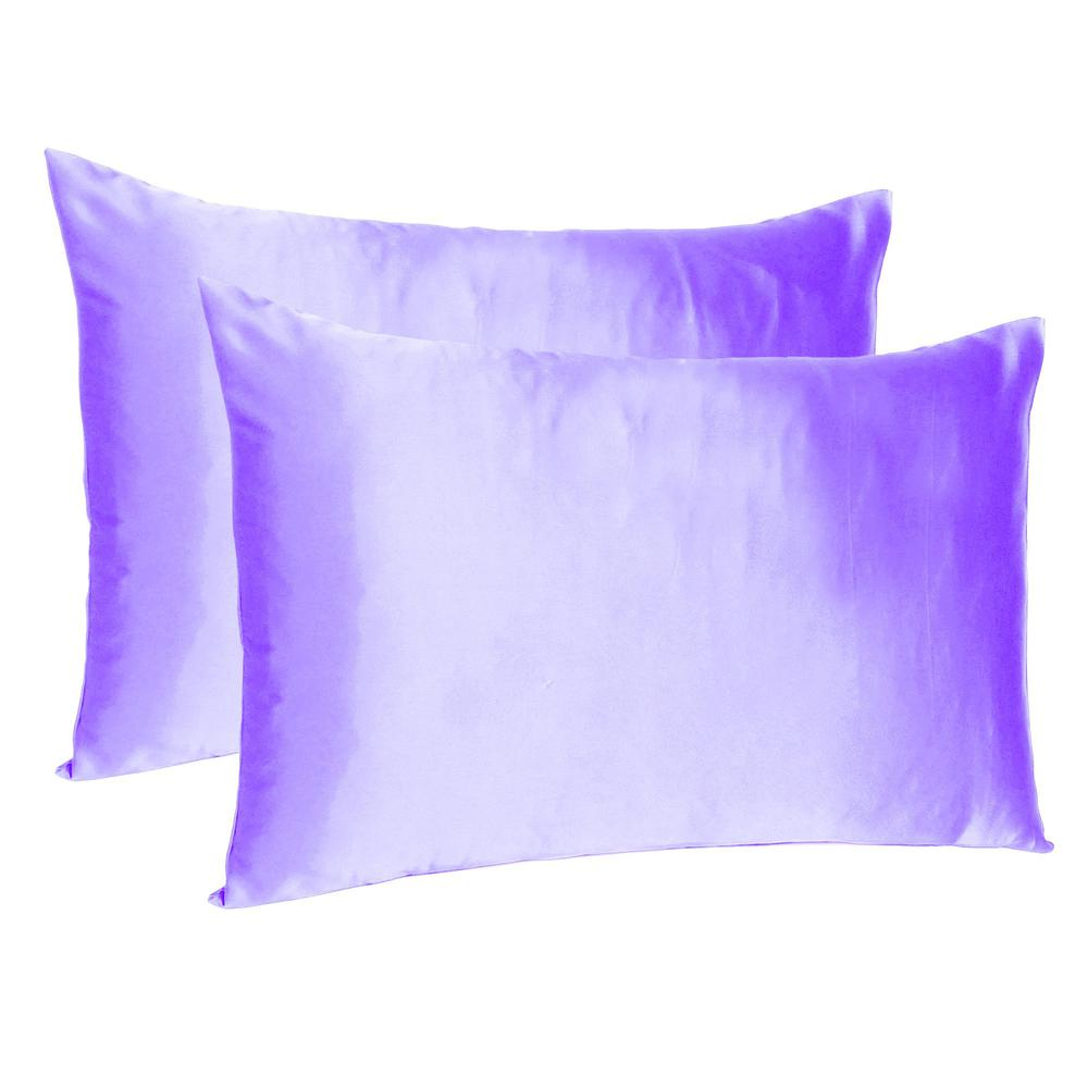 Purple Dreamy Set of 2 Silky Satin Queen Pillowcases - 387891. Picture 1