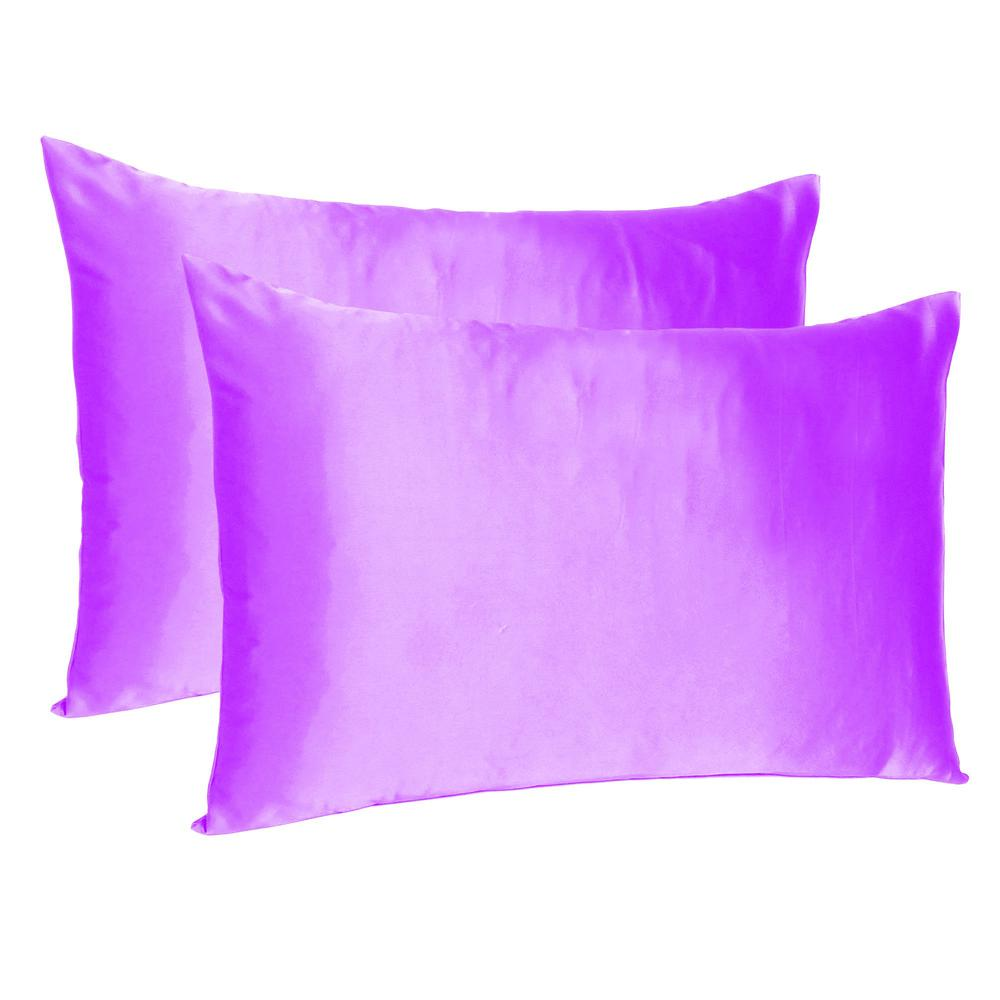 Violet Dreamy Set of 2 Silky Satin Queen Pillowcases - 387895. Picture 1