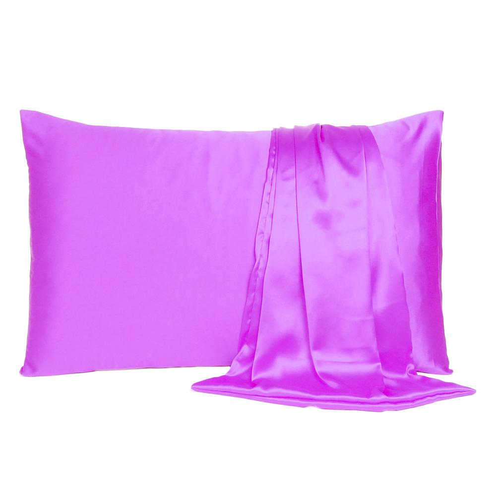 Violet Dreamy Set of 2 Silky Satin Queen Pillowcases - 387895. Picture 2