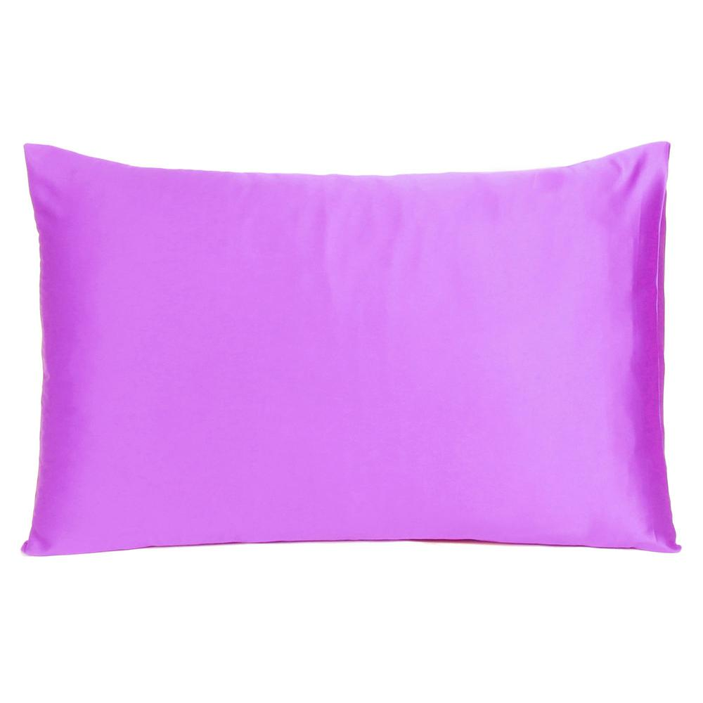 Violet Dreamy Set of 2 Silky Satin Queen Pillowcases - 387895. Picture 3