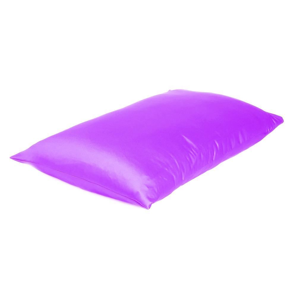 Violet Dreamy Set of 2 Silky Satin Queen Pillowcases - 387895. Picture 4