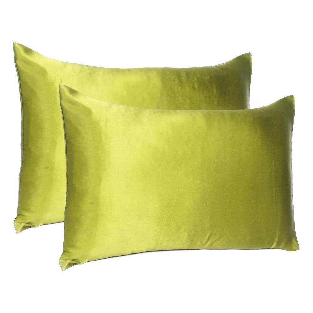 Lemongrass Dreamy Set of 2 Silky Satin Queen Pillowcases - 387897. Picture 1