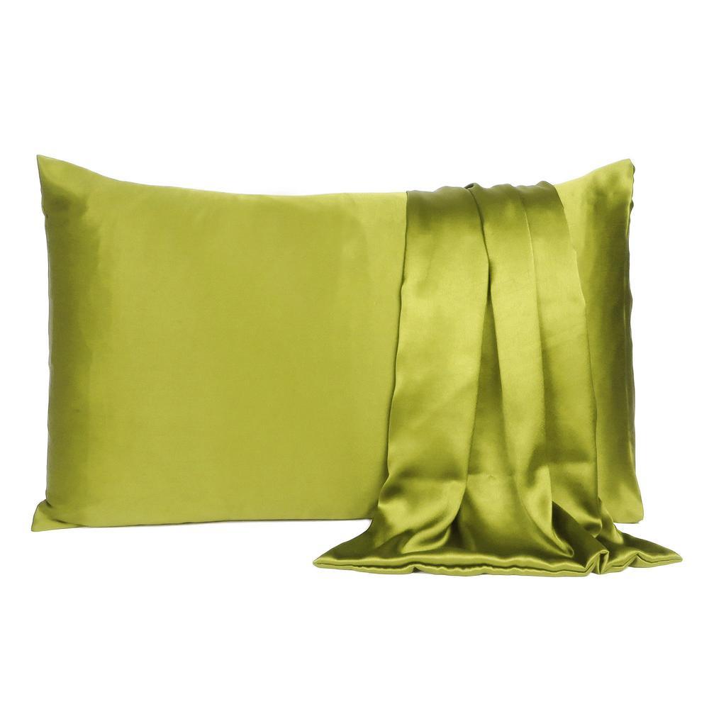 Lemongrass Dreamy Set of 2 Silky Satin Queen Pillowcases - 387897. Picture 2