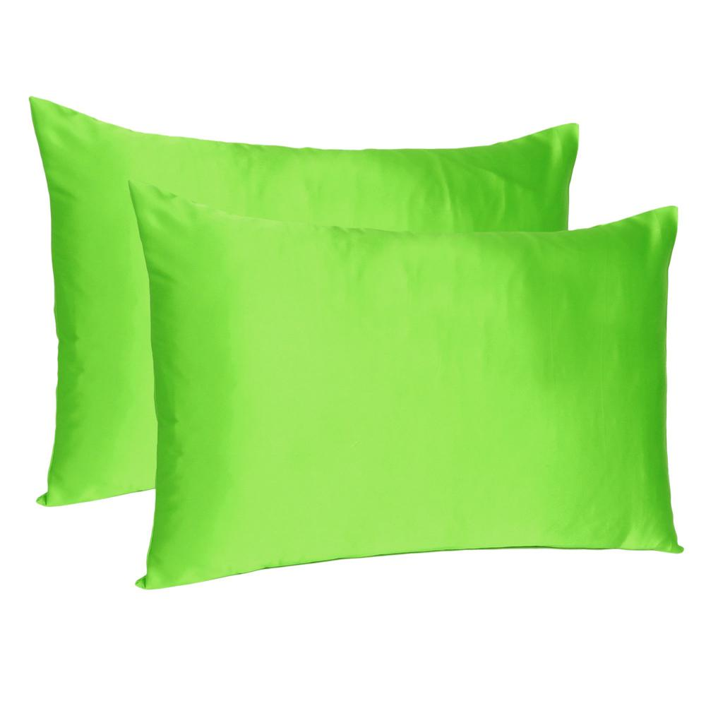 Bright Green Dreamy Set of 2 Silky Satin Queen Pillowcases - 387898. Picture 1
