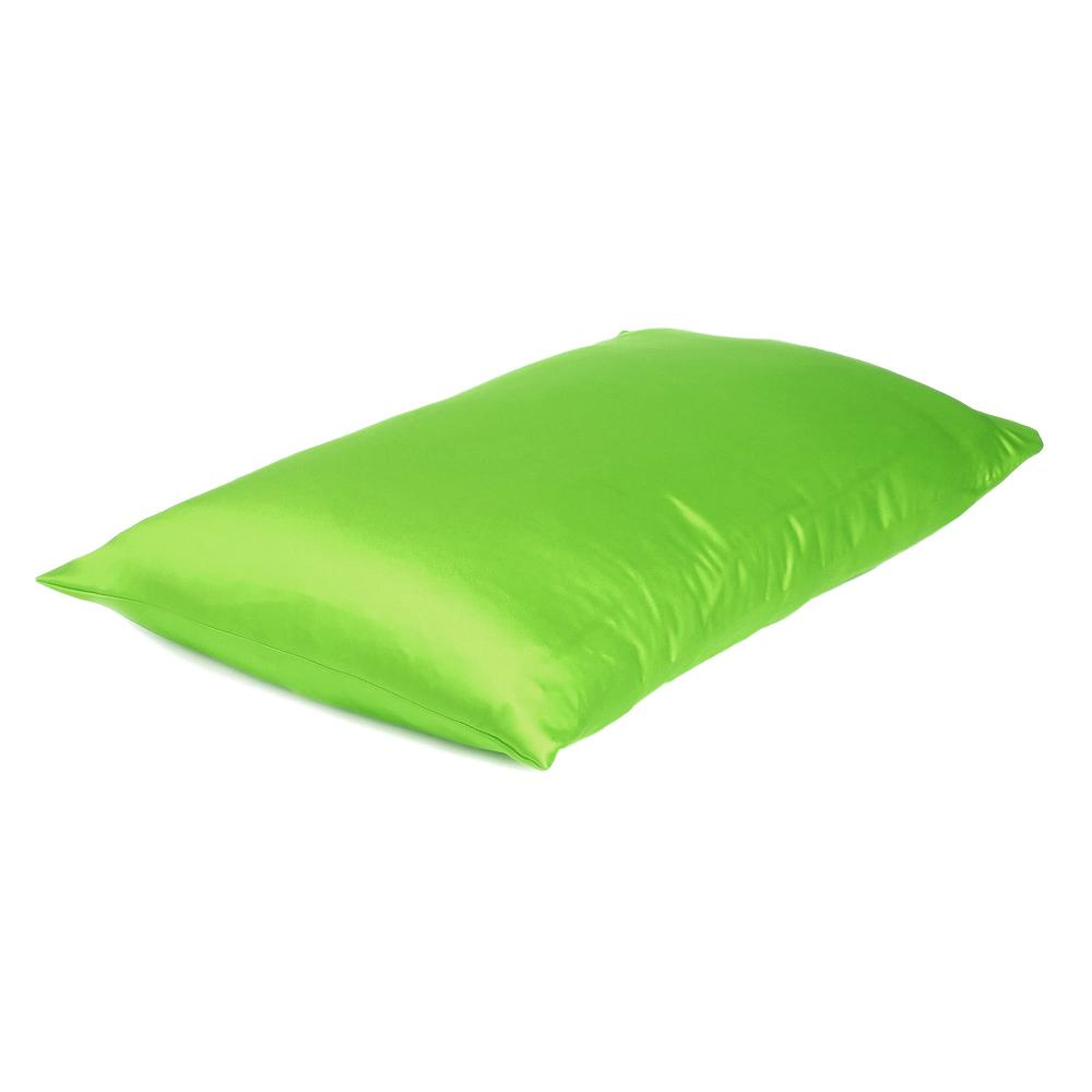 Bright Green Dreamy Set of 2 Silky Satin Queen Pillowcases - 387898. Picture 4