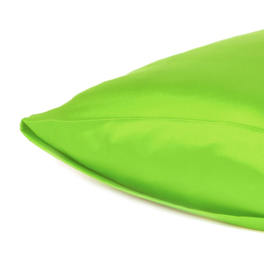 Bright Green Dreamy Set of 2 Silky Satin Queen Pillowcases - 387898. Picture 5