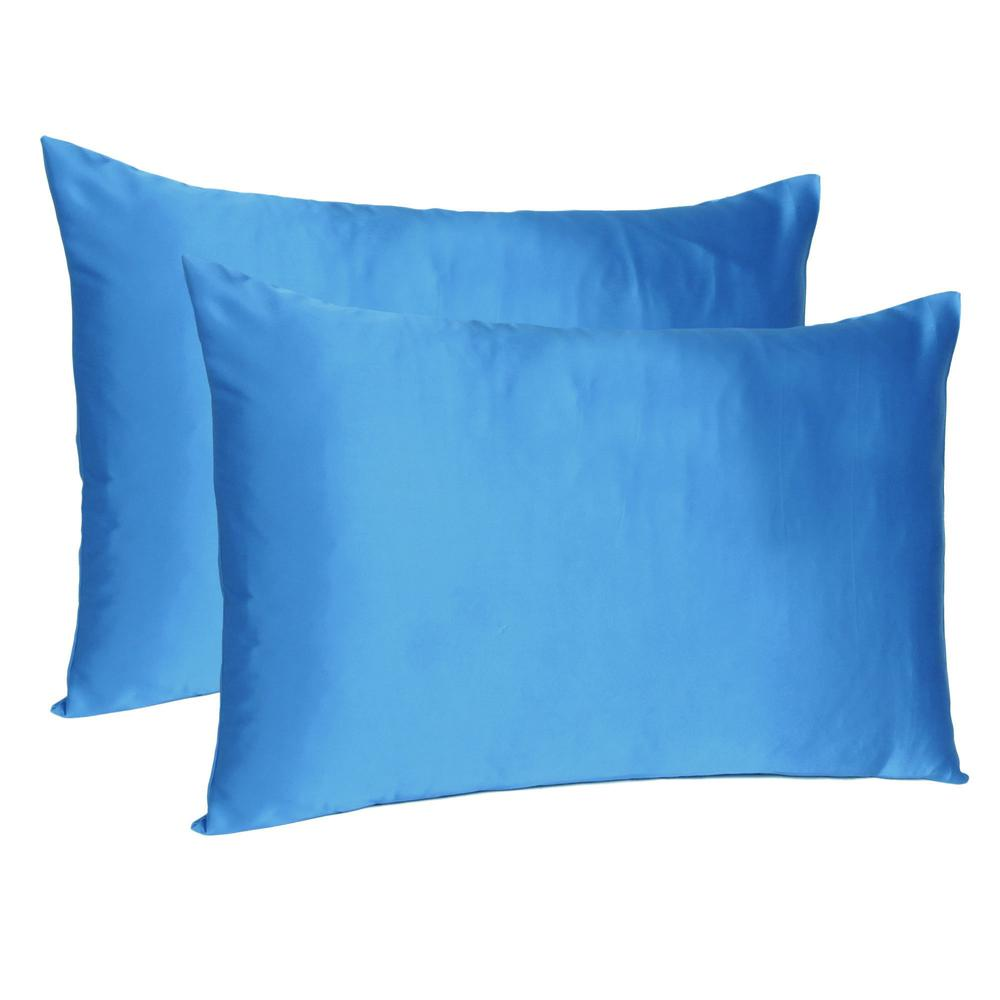 Bright Blue Dreamy Set of 2 Silky Satin Queen Pillowcases - 387899. Picture 1