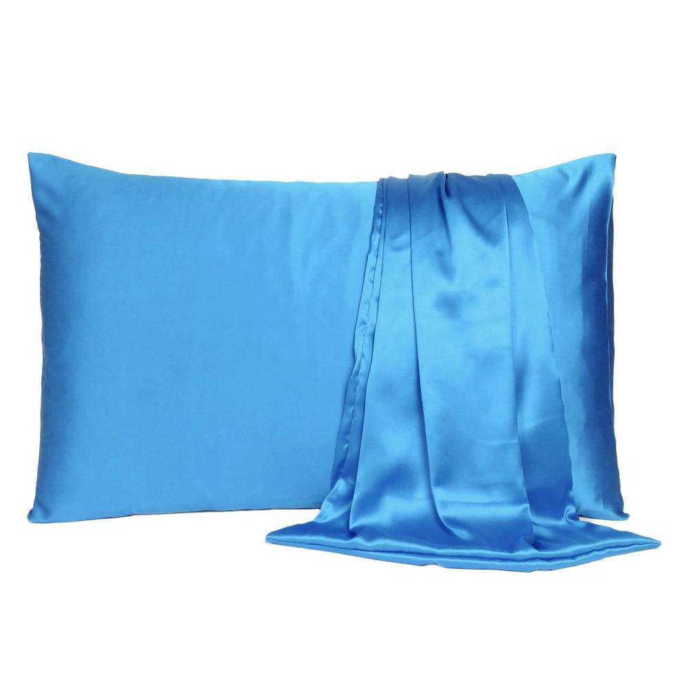 Bright Blue Dreamy Set of 2 Silky Satin Queen Pillowcases - 387899. Picture 2