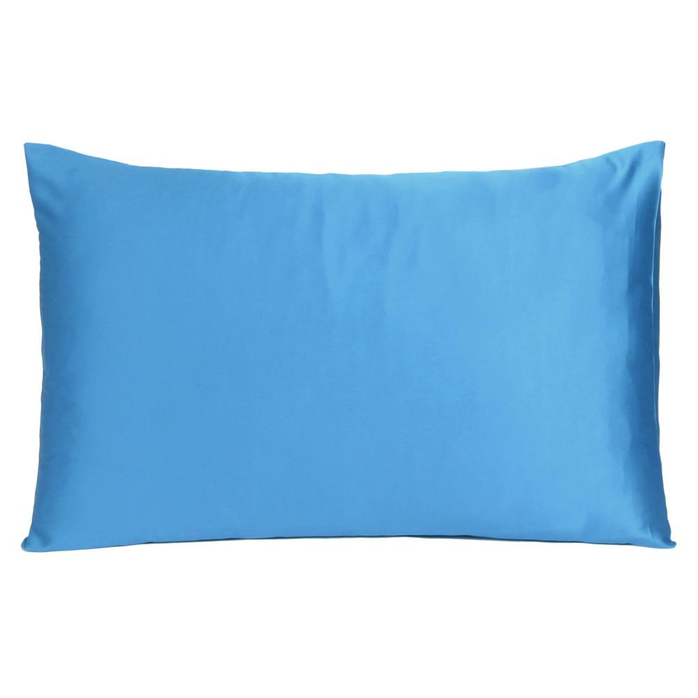Bright Blue Dreamy Set of 2 Silky Satin Queen Pillowcases - 387899. Picture 3
