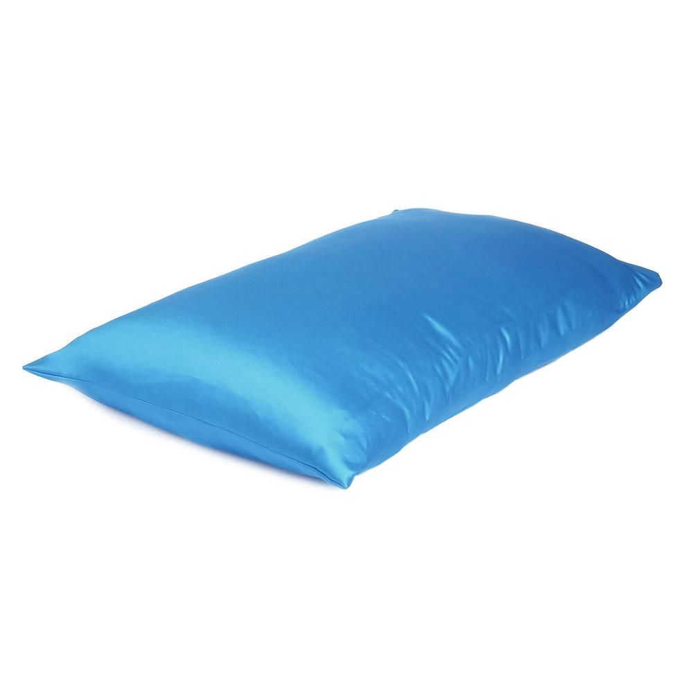 Bright Blue Dreamy Set of 2 Silky Satin Queen Pillowcases - 387899. Picture 4