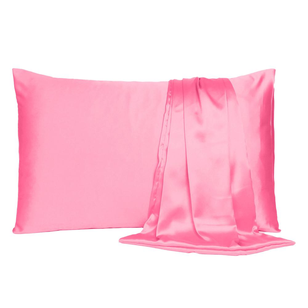 Pink Rose Dreamy Set of 2 Silky Satin Queen Pillowcases - 387903. Picture 2