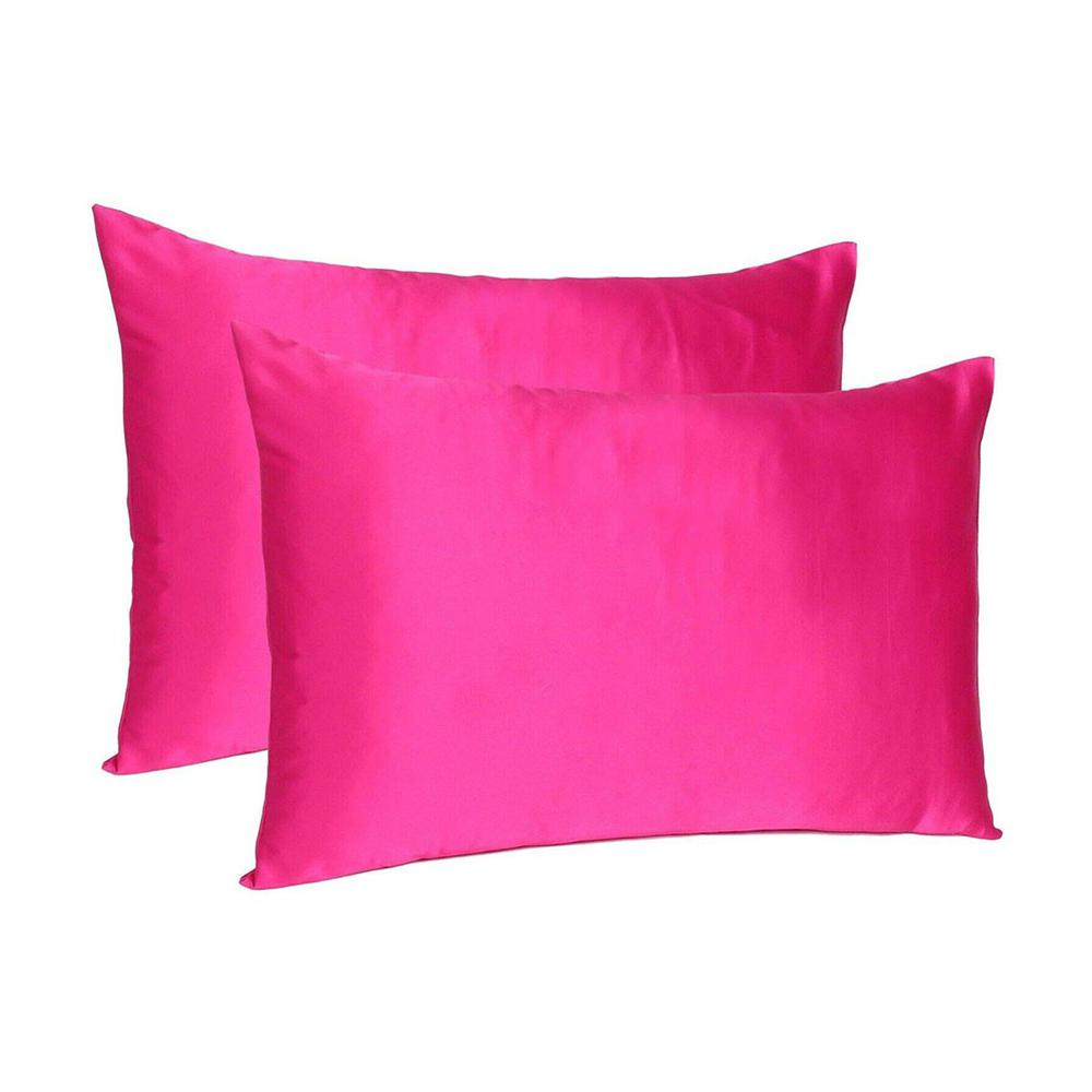 Fuchsia Dreamy Set of 2 Silky Satin Queen Pillowcases - 387905. Picture 1
