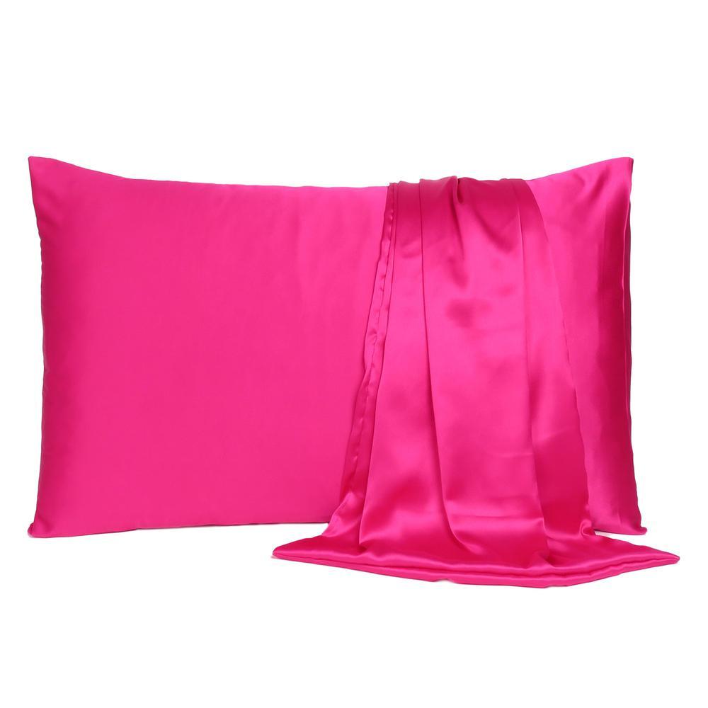 Fuchsia Dreamy Set of 2 Silky Satin Queen Pillowcases - 387905. Picture 2
