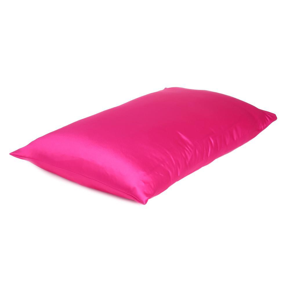 Fuchsia Dreamy Set of 2 Silky Satin Queen Pillowcases - 387905. Picture 4