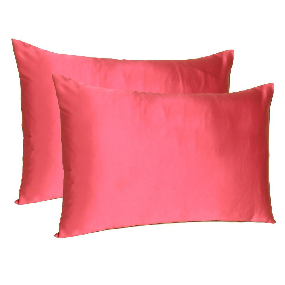 Poppy Red Dreamy Set of 2 Silky Satin Queen Pillowcases - 387906. Picture 1