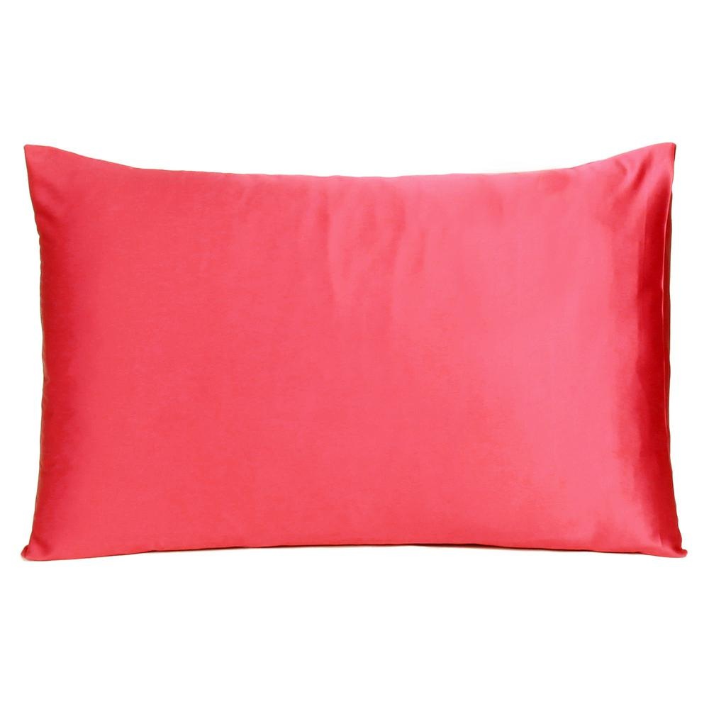 Poppy Red Dreamy Set of 2 Silky Satin Queen Pillowcases - 387906. Picture 3