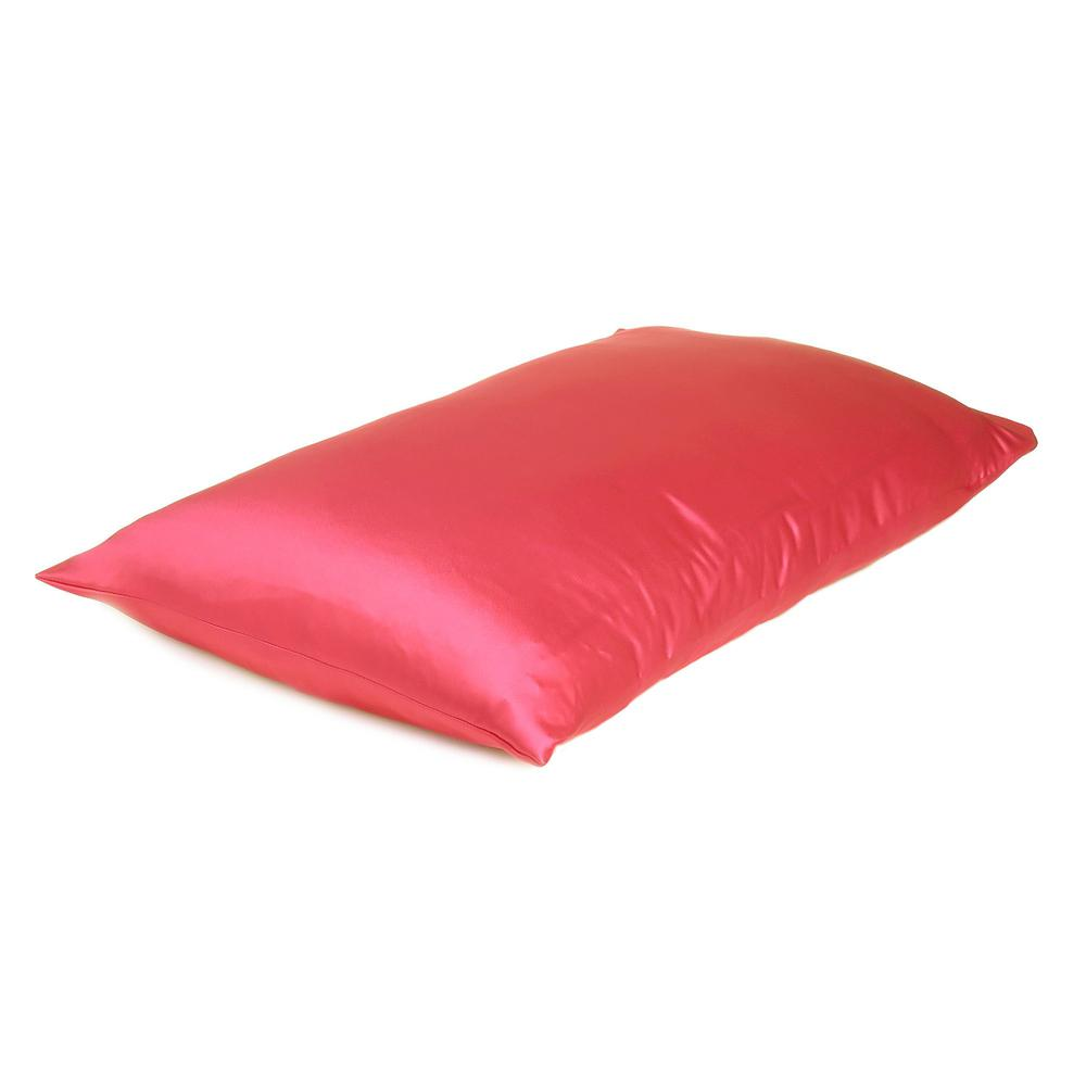 Poppy Red Dreamy Set of 2 Silky Satin Queen Pillowcases - 387906. Picture 4